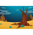 A desert with a big tree vector image vector image