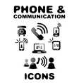Black glossy phone  communication icon set vector image