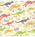 Jumping kangaroo seamless pattern background vector image