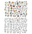 hand drawn icons and elements pattern vector image