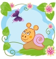 Snail and butterfly among flowers vector image