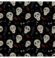 Seamless pattern skulls on a black vector image