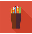 Flat Cup with Office Writing Supplies Tools with vector image