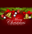 christmas background with ribbon bells pine cone vector image