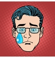 Emoji cry sadness man face icon symbol vector image