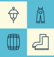 gardening icons set collection of lantern cask vector image