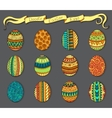 Ink hand-drawn doodle Easter set with eggs vector image