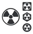 Radiohazard icon set monochrome vector image