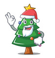 santa christmas tree character cartoon vector image