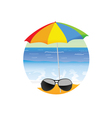 sunglass on the beach cartoon art vector image