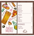 Italian Cafe Restaurant Menu vector image