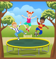 jumping kids on trampoline in backyard vector image