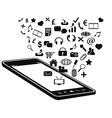 black mobile phone and icons vector image vector image