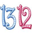 Pink Blue Shiny Number 12 13 For Bar Bat Mitzvah vector image vector image
