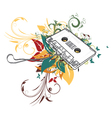 cassette with floral vector image