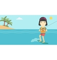 Professional wakeboard sports woman vector image