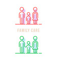 color thin line family care logo vector image