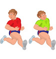 Happy cartoon man running with smile vector image