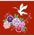 Kimono decorative motif with flowers and crane vector image
