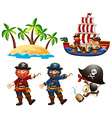 Pirates and children on the ship vector image