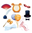 Theater Background Flat Icons Set vector image