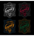 whiskey labels with skull and flower ornament vector image