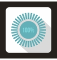 Loading circle100 percent icon flat style vector image