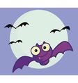 Flying Purple Vampire Bat And Full Moon vector image