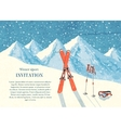 Ski winter mountain landscape card vector image