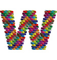 3d font letter w vector image vector image