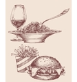 Food fast food burger and fries pasta and wine vector image