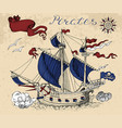 pirate sailboat with banner and text vector image
