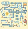 robotic machinery parts flat icons set vector image