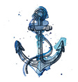 Watercolor and ink of an anchor vector image