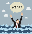 Drowning man screaming for help vector image vector image
