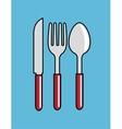 cartoon spoon fork knife kitchen design vector image