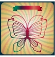 Retro poster with butterfly on old scrach vector image vector image