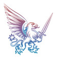 colorful heraldy griffon with sword vector image