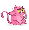 cartoon fat funny cat with yellow eye vector image