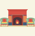 Empty Sofas And Fireplace In Living Room Interior vector image