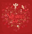 Red retro greeting card valentine day vector image