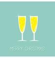 Two hampagne glasses with sparkles Greeting Card vector image vector image