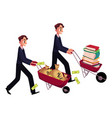 men businessmen pushing wheelbarrows one with vector image
