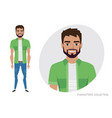 men with beard in casual cloth vector image