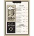 beer menu with price list vector image vector image