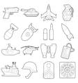 Military icons set outline cartoon style vector image