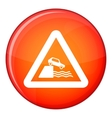 Riverbank traffic sign icon flat style vector image