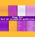 dotted pop art seamless pattern background set vector image