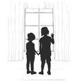 Girls near window vector image