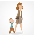 mother and son walking and holding hands vector image